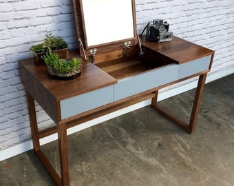 Solid Walnut Vanity with Mirror