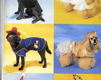 Butterick 6666 Dog Costumes Clothes Tuxedo, Angel, Princess, Xmas Sewing Pattern Sizes XS - L