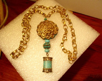 Finest! TIBETAN Repousse Brass INFINITY Knot & TURQUOISE Pendant w/5 Turquoise Pieces on Artisan Gold Bronze, Thick, Twisted Link Necklace