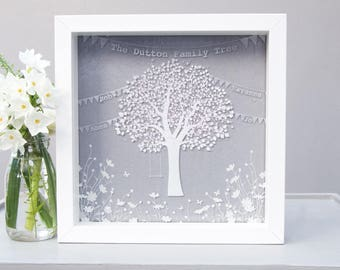 Personalised glass family tree, family tree frame, Mother's day gift, gifts for family, gifts for parents, gift for mum, personalized gift
