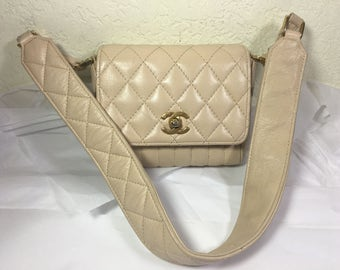 Vintage CC beige Small Quilted Flap Shoulder Bag OBO