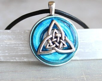 mens sky blue triquetra necklace, mens jewelry, irish jewelry, celtic knot, celtic jewelry, men gift, wiccan jewelry, unique gift