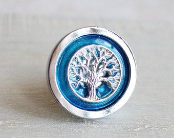 sky blue drawer pull, cabinet knob, cabinet pull, drawer handle, dresser knob, dresser pull, tree of life, drawer knob, cabinet decor