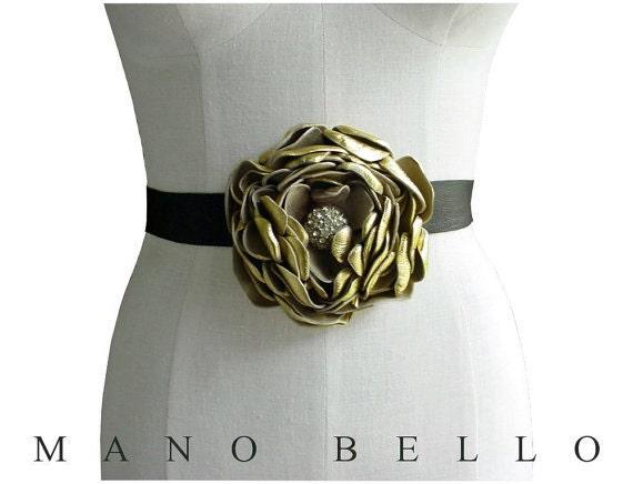 Gold Leather Flower Belt Antique Rhinestone Center Black Strap Womens Wedding Dress Belt in stock