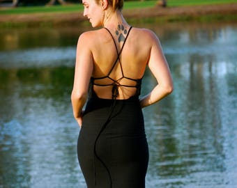 Halter Dress - Strappy Backless Dress - Lace Up Back - Little Black Dress - Organic Clothing  - Bodycon - Fitted