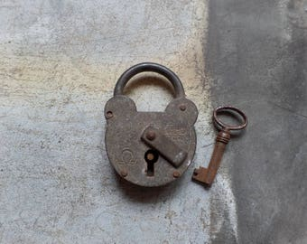 Old big FRENCH grey padlock with key