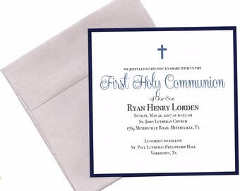 First Holy Communion Invitations Boy Navy- Christening, confirmation, Baptism, Dedication