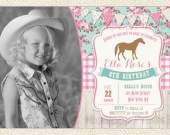 Horse Birthday Invitations - Pony Invitations - Cowgirl Birthday Invitations
