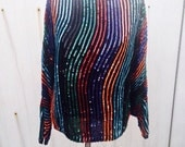 Vintage sequins blouse with colorful swirls