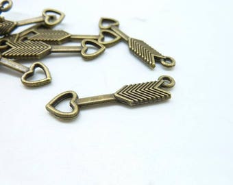 30pcs 6x28mm Antique Bronze Mini Double Sided Arrow  Charm Pendant C6396