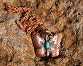 Solid Copper Southwest Indian Butterfly Necklace
