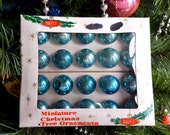 12 Aqua Blue Shiny Brite Miniature Glass Ball Christmas Tree Ornaments in the Origninal Box