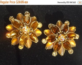 Sale Pre Holliday Designer Judy Lee Stacked Earrings, Light Golden Brown with One AB stone in the Middle