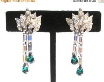 Sale Pre Holliday Vintage VENDOME Signed Earrings, Emerald May Birthstone -Clear Rhinestones like Diamonds