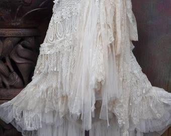 20%OFF wedding, bridal,tattered skirt, boho, fantasy, stevie nicks, bohemian skirt, gypsy skirt, white lace skirt, belly dance, tattered