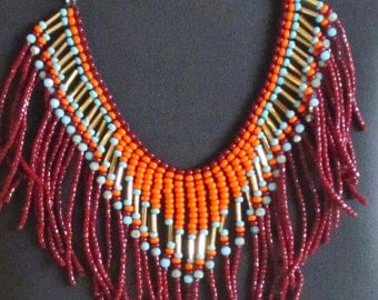 Native American necklace, orange, dark red, turquoise, gold