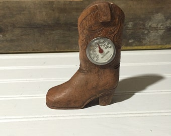 Wooden cowboy boot Thermometer vintage home decor western decor home decor cowgirl boot