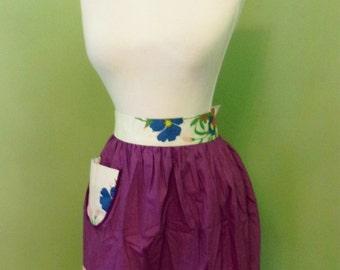 Vintage 1960s Hostess Purple White Red Yellow Flowers Cotton Half Apron