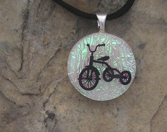 Tricycle Necklace Fused Dichroic Glass Bike  Pendant