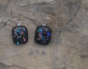 Rainbow Earrings Fused Glass Dichroic Earrings