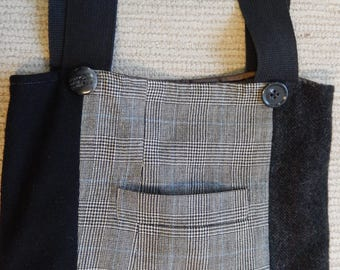 BaaBaaZuzu Upcycled Wool Tote Bag  Black Gray Fully Lined with Pockets