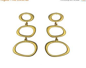 20% off. Three Hoop Post Earrings.  Matte Earrings in Gold or Silver. Modern, Minimal Statement Earrings.