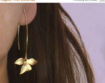 20% off. Flower Earrings.  Wild Orchid. Solo Flower Earrings in Gold or Silver. Single Orchid on A Long Earwire.