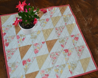 Quilted Table Topper, cottage chic decor,
