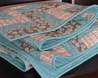 Modern Rail Fence Quilt, Turquoise Brown Blanket, Sofa Throw, Dorm decor, Lap quilt
