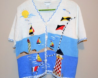 Vintage Sweater Lighthouse & Nautical Cardigan