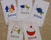 Personalized Fishing Burp Cloth Set