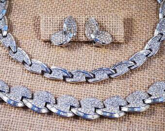 Vintage Crown Trifari Pave and Baguette Chrystal Rhinestone Parure Necklace Earrings and Bracelet