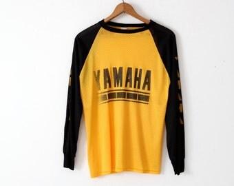 1980s Yamaha racing jersey, yellow & black nylon mesh t-shirt