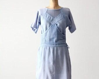 SALE 80s mesh cotton dress, vintage blue beach dress