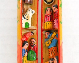 Tiny Hand Carved / Painted People, Animals & Mexican Hats Inside A Hand Made Wood Tube