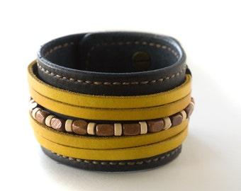 "Handcrafted Leather Cuff Bracelet Men or Women 1 3/4"" Wide"