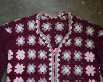 Vtg Burgundy Knit Patchwork Afghan Cardigan Sweater Crochet Floral Jacket 1970s 80s Size Medium