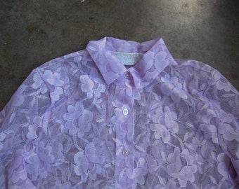 Vtg 70s 80s Lavender Floral Lace Sheer Blouse Top Button Down Long Sleeve Collard Size Medium to Large