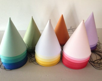 OMBRE Birthday Party Hats (Set of 10) -- You Pick:  Blues, Reds, Yellows, Purples, Oranges, Greens