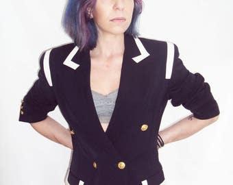 Navy Blazer, Brass Buttons,  Nautical Sailor, MILITARY trend, s, m