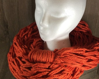 Super Bulky Arm Knit Infinity Scarf ~ Portsmouth Pumpkin