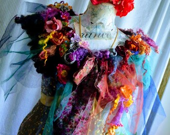 Romantic Bohemian  shrug shawl vintage crocheted embellished art to wear capelet WRAP SKIRT bustle fairy gypsy mori girl shabby chic shawl