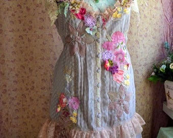 off Reworked dress bohemian gypsy wearable art art to wear dress altered couture dress upcycled dress embroidered with artsy flowers