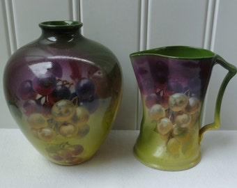 Grapes Vase & Pitcher. Royal Bayreuth. Vintage Antique 1900s. Made in Bavaria Germany. Small Vase, Mini Pitcher. Green, Purple. Blue Mark.