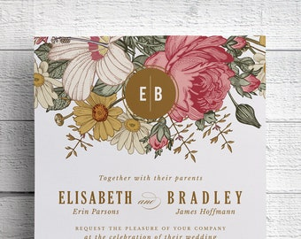Spring Floral Wedding Invitations, DIY Wedding Invitation Suite, Printable Wedding Invite, Spring Wedding, Outdoor Wedding, Garden