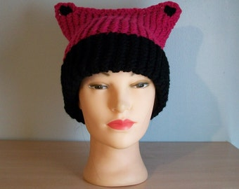 Pink Pussycat Hat Crochet Knit Stocking Cap Ready to Ship