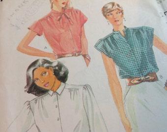 Vintage Mccalls Pattern 7062, Blouse Pattern, Size 10 Blouse Pattern, 80's Blouse Pattern, Uncut Pattern