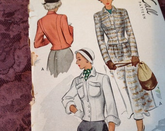 Vintage Mccalls Pattern 7558- Jacket Pattern,  Size 10 Pattern, Uncut Pattern, 40's Pattern