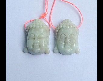 Sale ! 2 pcs Carved Amazonite Buddha Head Pendant Beads,24x17x7mm,7.7g