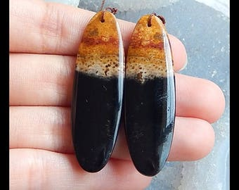 Reserve for lisa!!!New,Palm Fossil Earring Beads,47x15x5mm,9.7g